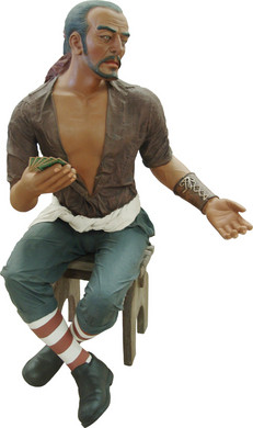 Piraat Carlos  speelkaarten en kruk 165cm