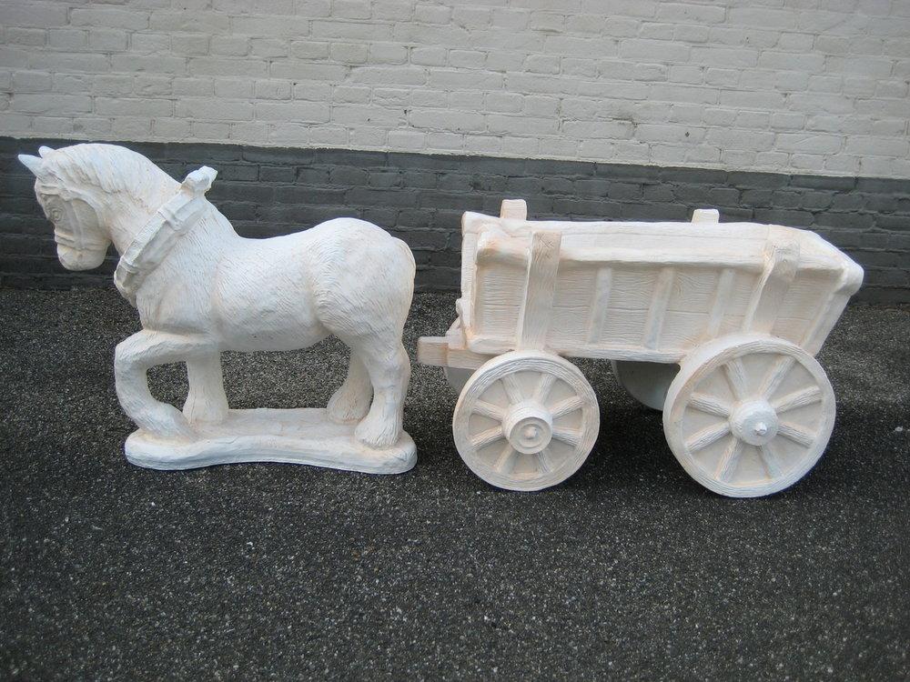 Boeren paard met wagen140cm