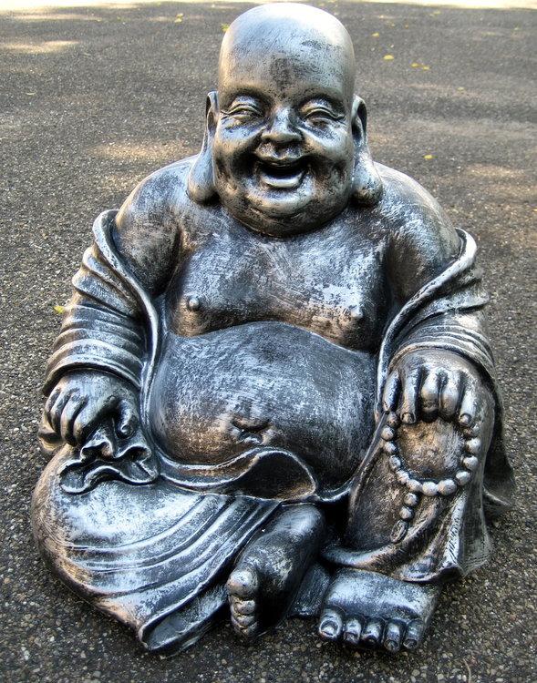 boeddha beeld old zilver 43cm