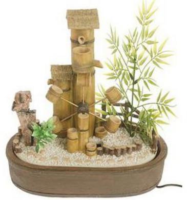 Fontein kamerfontein Bamboolook met waterrad