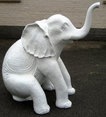 olifant Happy olifant kunst beeld polyester wit 180x140x100cm  €392