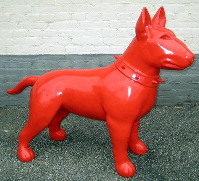 Bullterrier -Design-beeld-Rood hoogglans-kunsthars 115cm