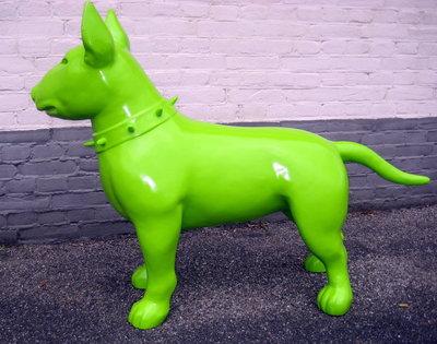 Bullterrier -Design-beeld-Groen-hoogglans-kunsthars 115cm
