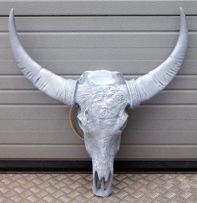 Bizon schedel gegraveerd met indiaan - grijs - 65cm
