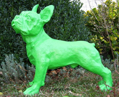 Franse Bulldog polyester beeld groen
