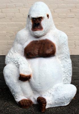 Aap Gorilla 125cm polyester beeld wit bruin €296