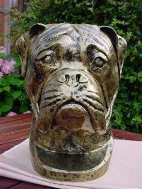 Boxer decoratie beeld  40cm Gebronsd urn