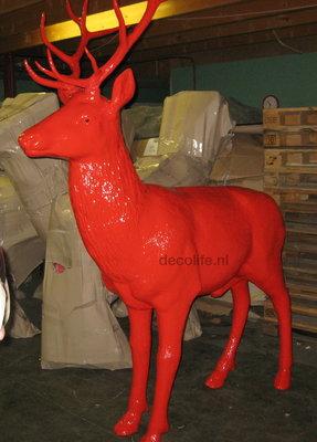 hert - rendier met gewei - levensgroot - rood