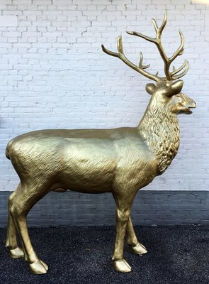 hert - rendier met gewei - levensgroot - goud