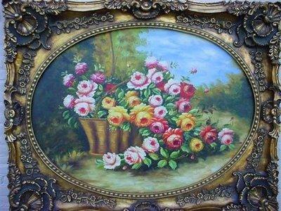 Schilderij olieverf 145x118cm met Ovaal lijst