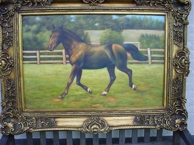 Schilderij Olieverf 120x90cm Paard