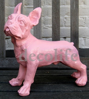 Franse Bulldog rose polyester beeld