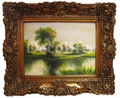 Schilderij incl. Lijst - Landschap Huis aan Water  30x40cm
