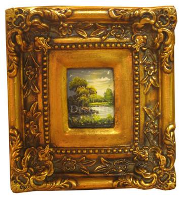 Schilderij incl. Lijst - Landschap Rivier Kromming 24x22cm