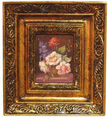 Schilderij incl. Lijst - Stilleven Boeket 20x18cm