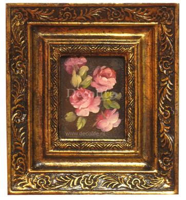 Schilderij incl. Lijst - Stilleven Rozen 20x18cm