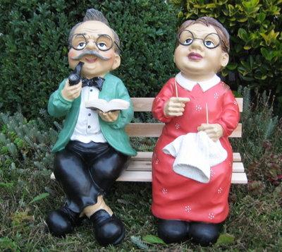 Opa en Oma op Houten Bank set 3 delig set