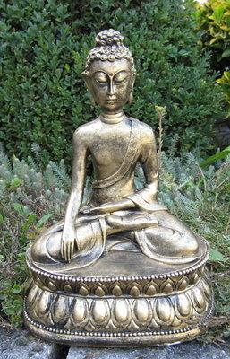 Boeddha Beeld Polyester gebronsd 35cm