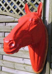 paardenhoofd wanddecoratie met houten schild decolife