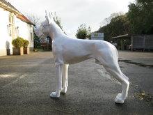 duitse Deense Dog kunsthars 125cm wit hoogglans