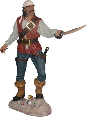 Piraat Beeld Cristobal met zwaard 195cm