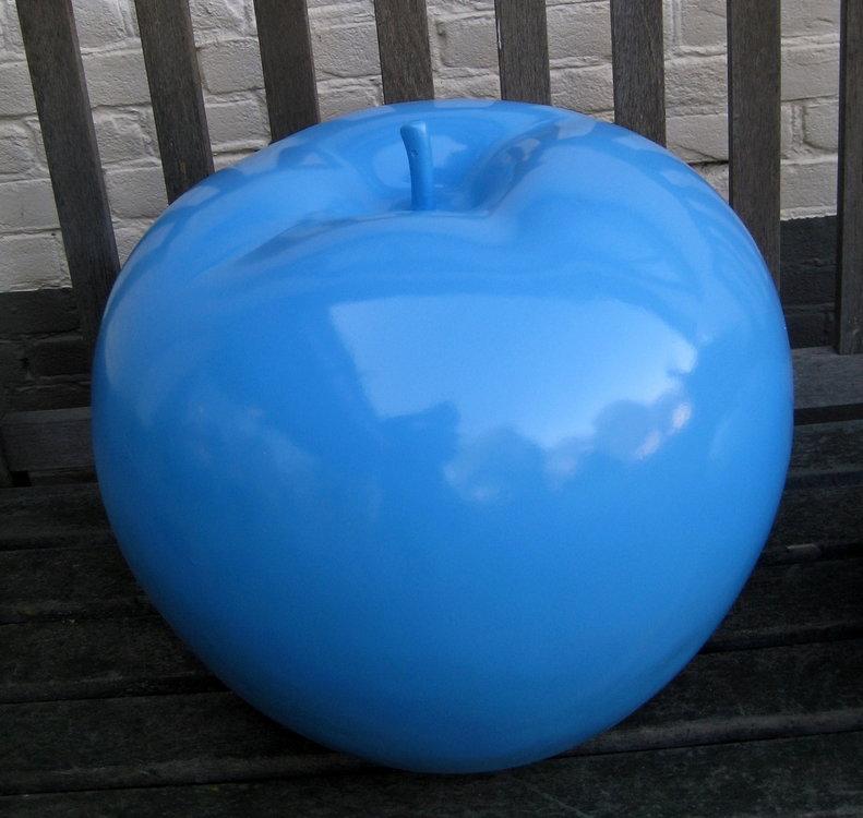appel polyester decoratie 45cm cyaan blauw