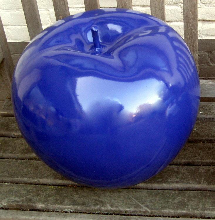 Appel -polyester - blauw -hoogglans-45cm