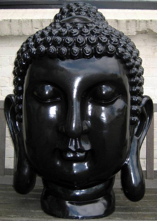 boeddha hoofd polyester XXL 92cm zwart