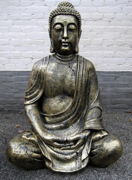 Boeddha Beeld Polyester gebronsd  65cm