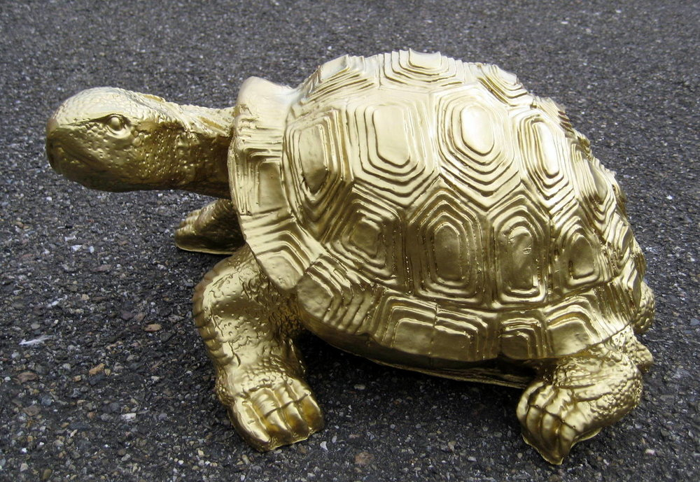 schildpad polyester verguld 31cm