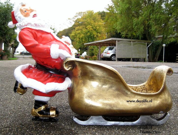 kerstman schaats polyester slee  60x48cm