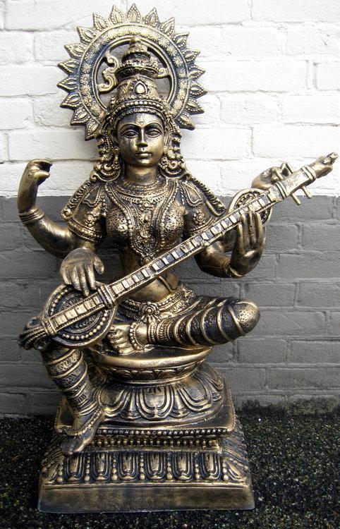Saraswati polyester beeld  gebronsd 75cm