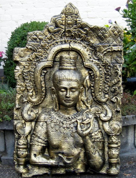 Boeddha Beeld Polyester Gebronsd wandpaneel 107cm