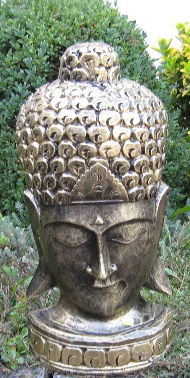 Boeddha Beeld Hoofd Polyester Gebronsd 49cm