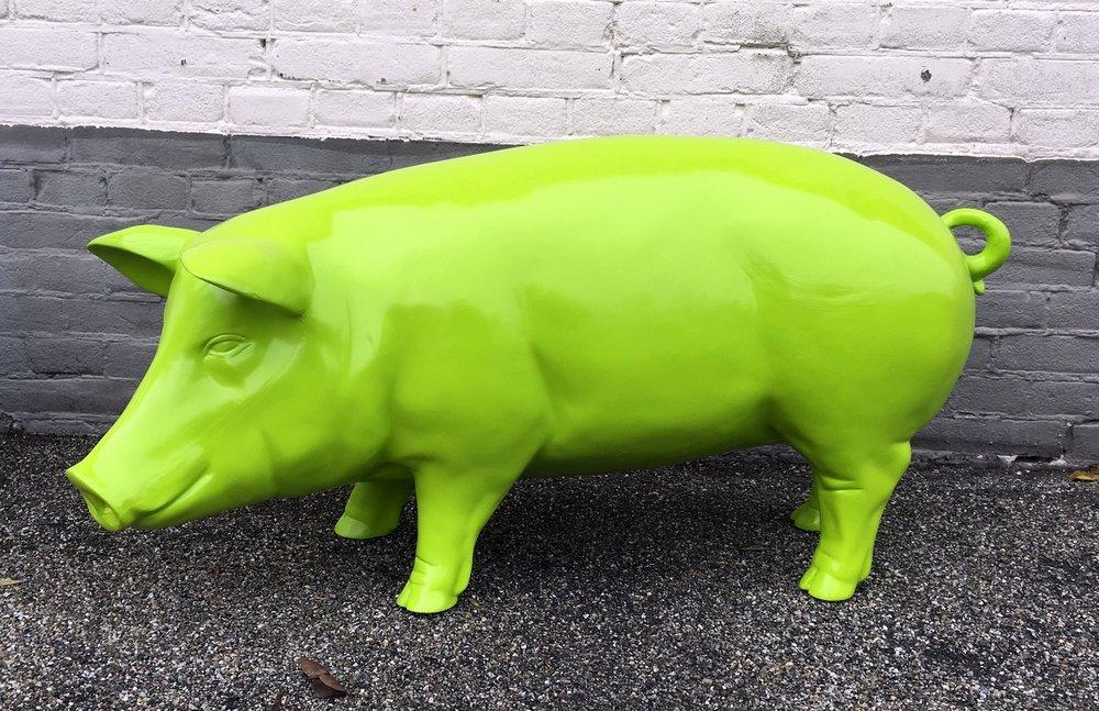 enveloppenvarken polyester beeld 100cm lemongroen