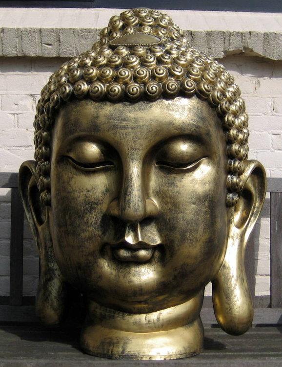 boeddha hoofd polyester XXL 92cm gebronsd