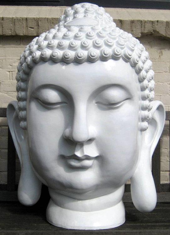 boeddha hoofd polyester XXL 92cm wit