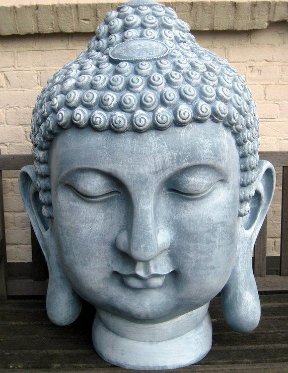 boeddha hoofd polyester XXL 92cm betonlook