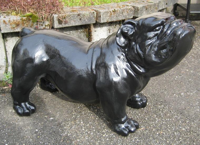 engelse bulldog Ceasar 65cm polyester zwart-hoogglans