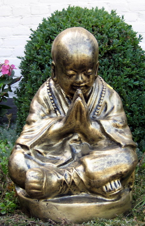 Boeddha pray sitting Polyester Gebronsd 49cm
