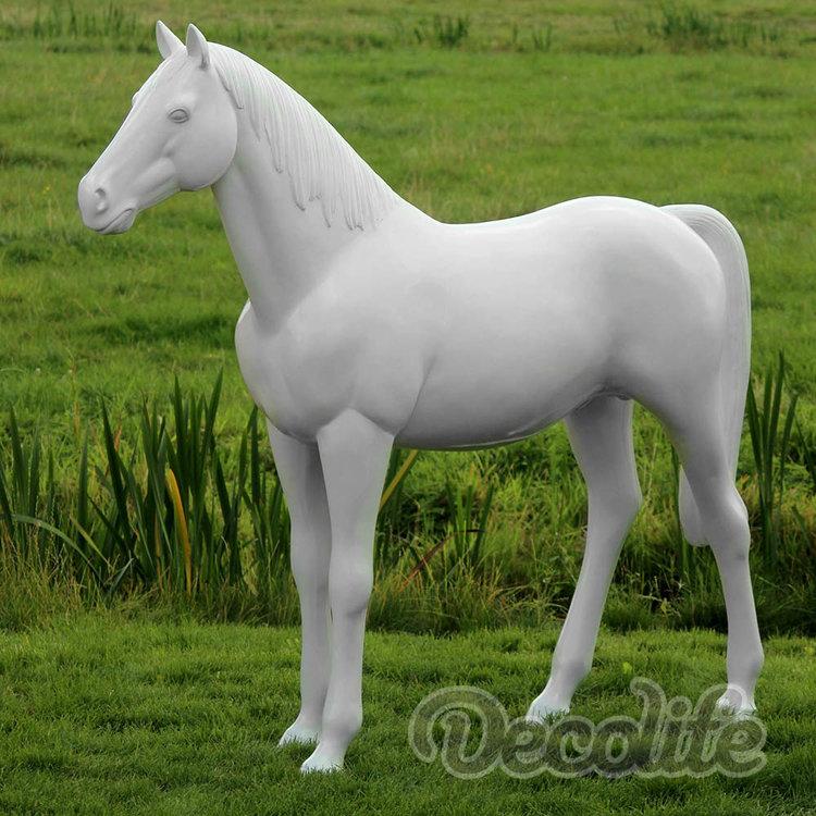 Paard -Levensgroot paard-beeld - hoogglans wit