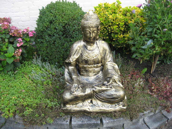 Boeddha Beeld Polyester Gebronsd 69cm