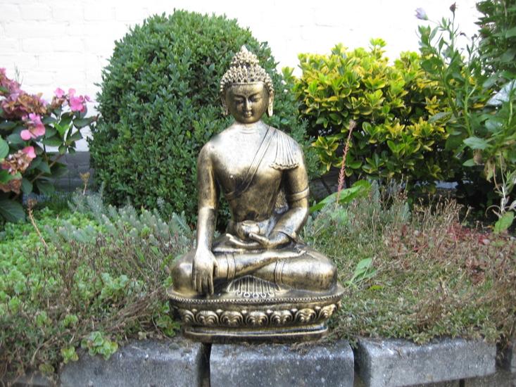 Boeddha Beeld Polyester Gebronsd 43cm