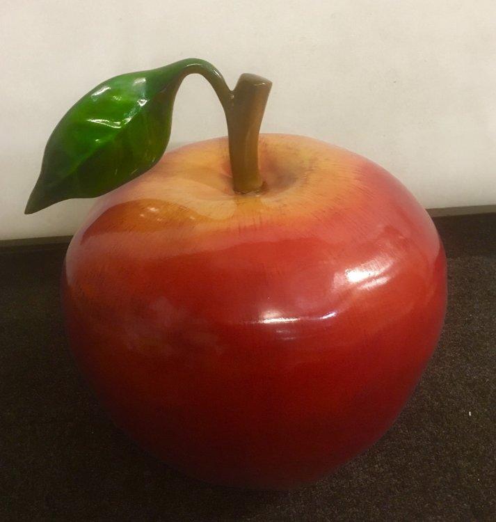 Appel met blad  polyester rood