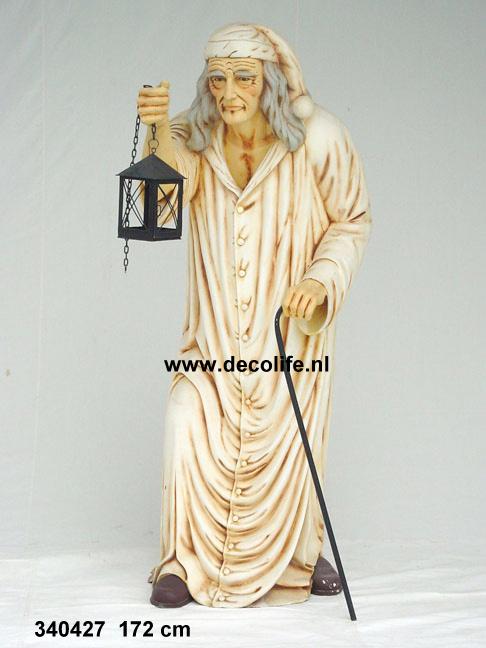 oude man met lantaarn 172cm