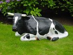 liggende koe 150cm polyester beeld