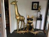 franse bulldog zittend XXL goud 120 cm