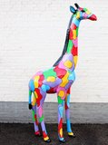giraffe kunstbeeld multi color