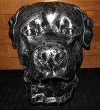 Hond beeld Rottweiler decoratie  oud zilver_