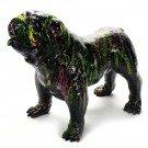 engels-bulldog-kunst beeld-zwart-colorful splah
